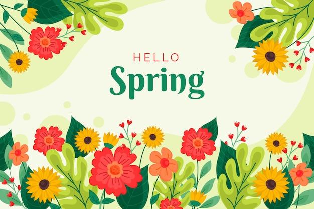 Flat design hello spring background Free Vector