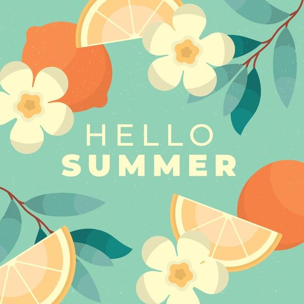 꽃으로 평평한 디자인 안녕하세요 여름 배경 무료 벡터