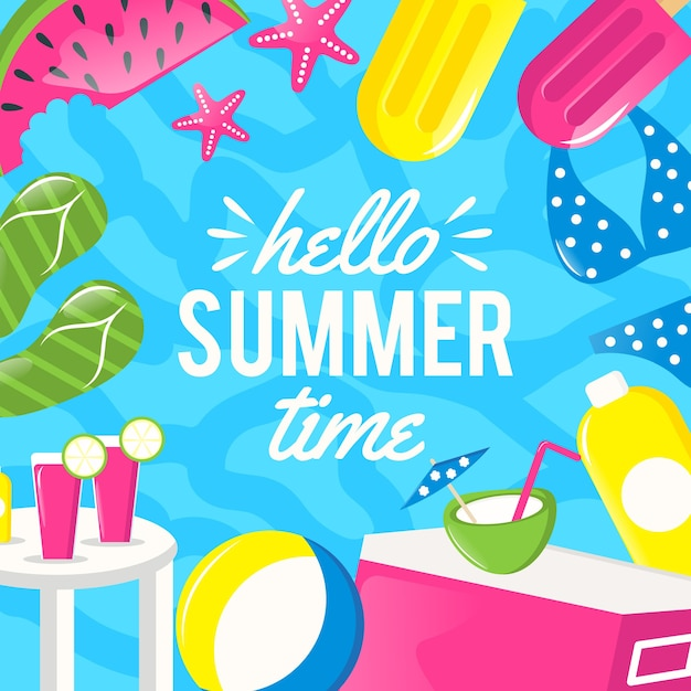 Flat design hello summer background Free Vector