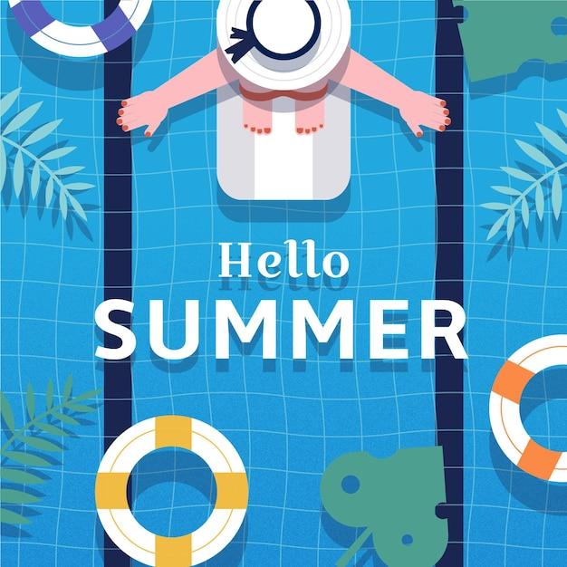 Плоский дизайн привет лето Бесплатные векторы