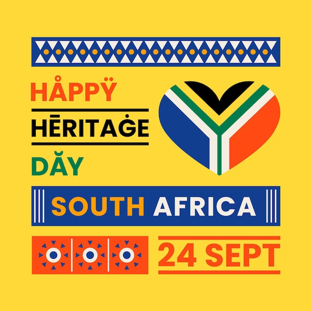 Flat design heritage day event illustration with text Free Vector