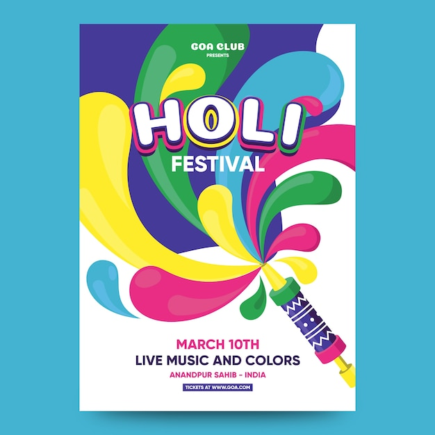 Flat design holi festival poster template Free Vector