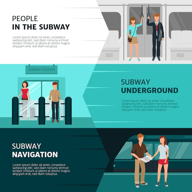 Flat design horizontal banners with people inside subway Free Vector