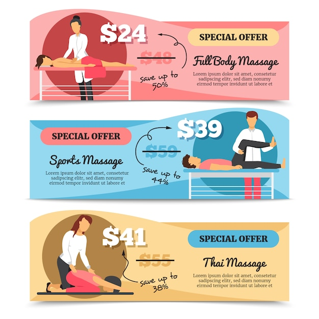 Flat design horizontal various types of massage and health care special offer banners isolated on wh Free Vector