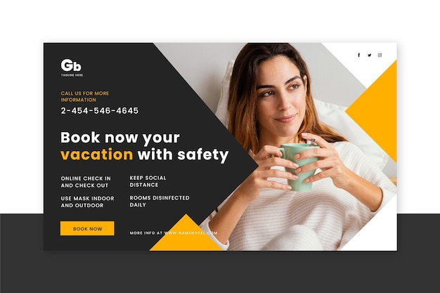 Flat design hotel banner with photo Free Vector