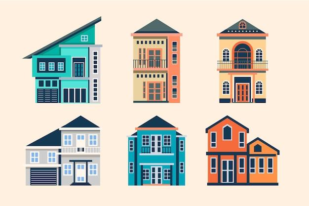 Плоский дизайн шаблона коллекции дома Бесплатные векторы