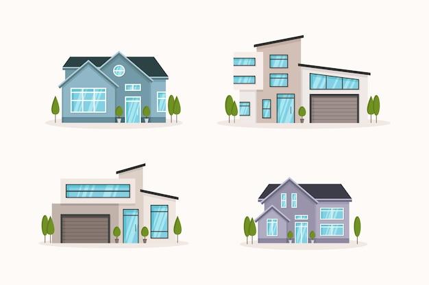 평면 디자인 하우스 컬렉션 프리미엄 벡터
