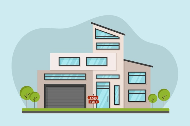 賃貸用フラットデザインハウス 無料ベクター