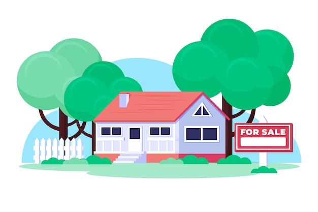 판매 그림에 대 한 평면 디자인 하우스 무료 벡터