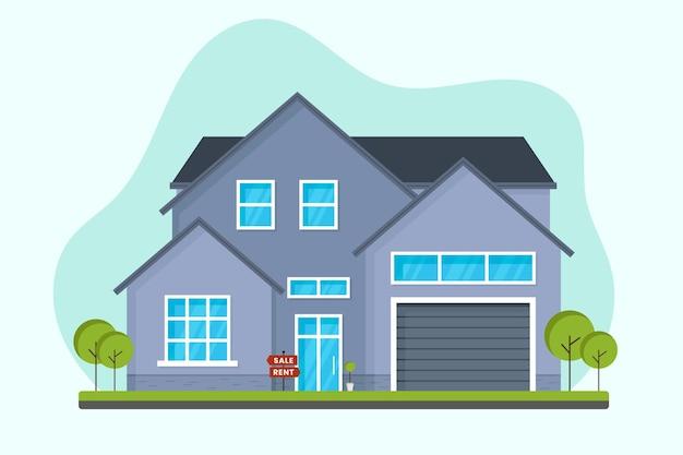 Продается дом с плоским дизайном Premium векторы