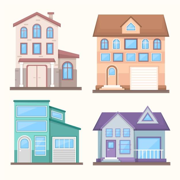 평면 디자인 하우스 그림 컬렉션 무료 벡터