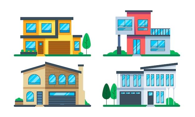 평면 디자인 하우스 일러스트 세트 무료 벡터
