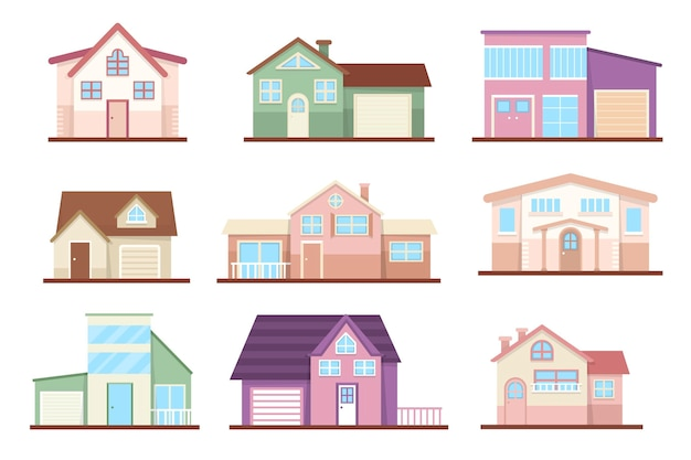 Premium Vector Flat Design House Pack