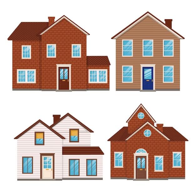 Плоский дизайн дома набор Бесплатные векторы