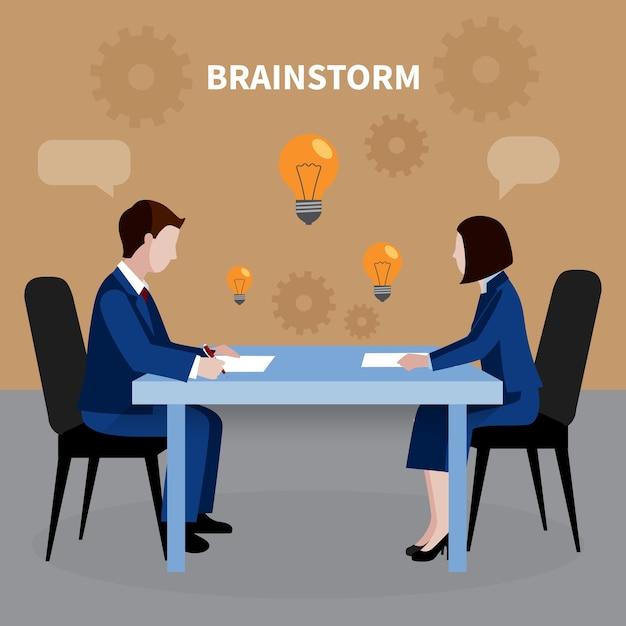 Плоский дизайн человеческих ресурсов фон с двумя людьми, мозговой штурм для бизнес-идей в офисе иллюстрации Premium векторы