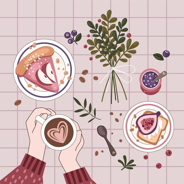 Плоский дизайн концепции hygge с едой Бесплатные векторы