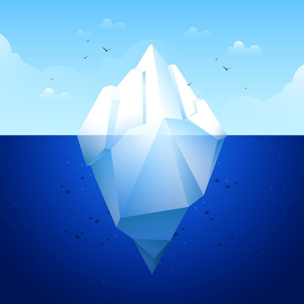 Flat design iceberg concept Free Vector