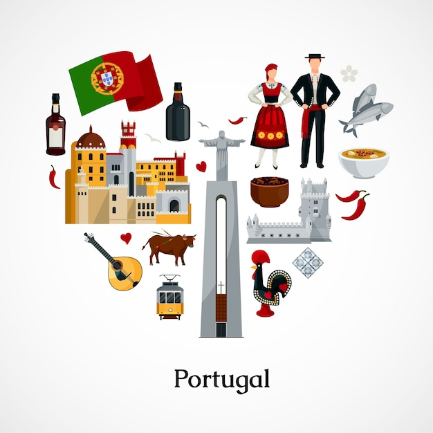 Flat design icon in form of heart with portugal national symbols attractions cuisine and attire vector illustration Free Vector