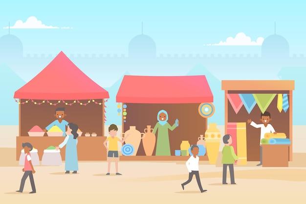Плоский дизайн иллюстрации арабский базар Бесплатные векторы