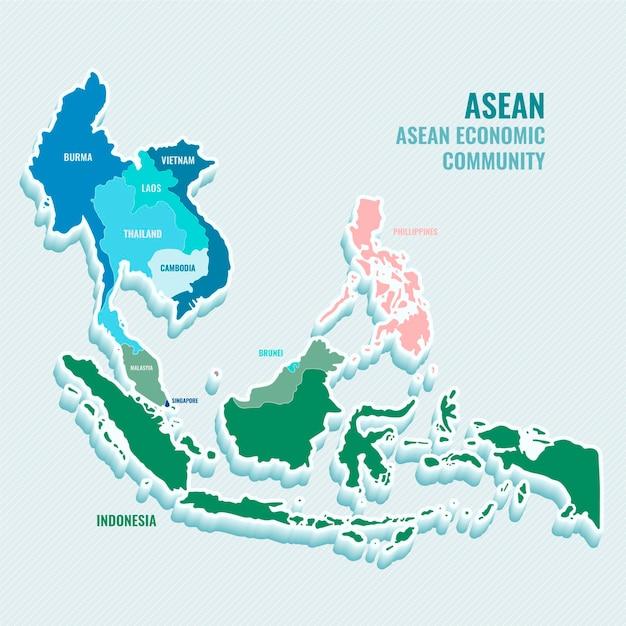 Flat design illustration asean map Free Vector
