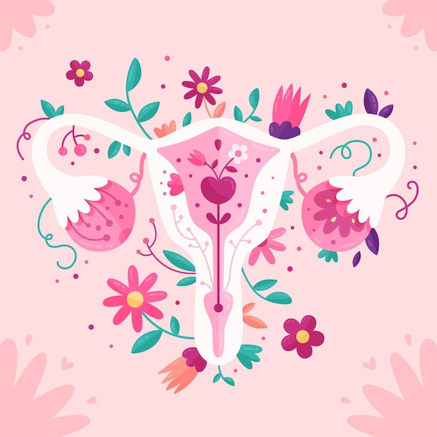 Flat design illustration female reproductive system with flowers Free Vector