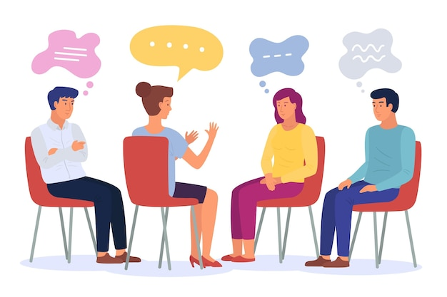 Flat design illustration group therapy Free Vector