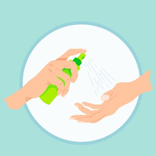 Flat design illustration hand sanitizer Free Vector