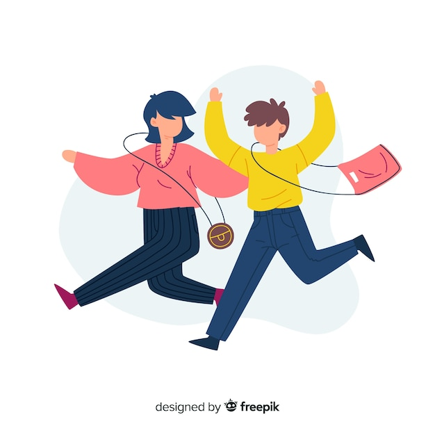 Flat design illustration of happy couple Free Vector