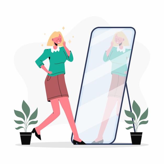 Flat design illustration high self esteem with woman Free Vector