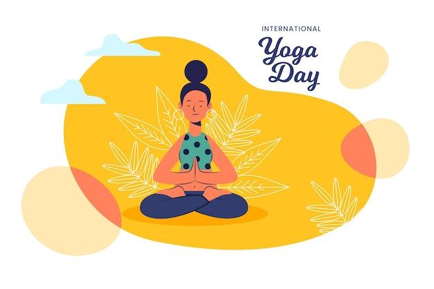 Flat design illustration international day of yoga Free Vector