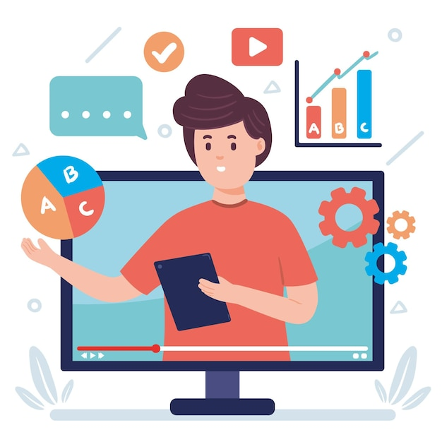 Flat design illustration online course with man Free Vector