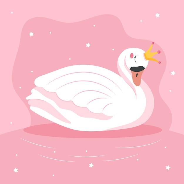 フラットデザインイラスト白鳥姫 無料ベクター