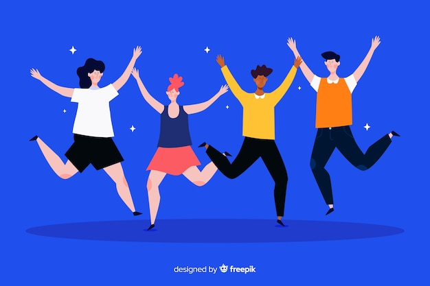 Flat design illustration of young people jumping Free Vector