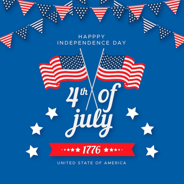 Flat design independence day Premium Vector