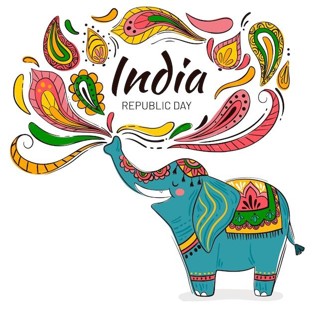 フラットなデザインのインド共和国記念日のイベント 無料ベクター