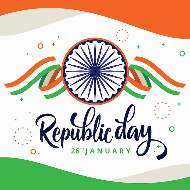 Flat design indian republic day lettering Free Vector