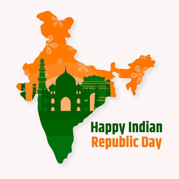 평면 디자인 인도 공화국의 날 무료 벡터