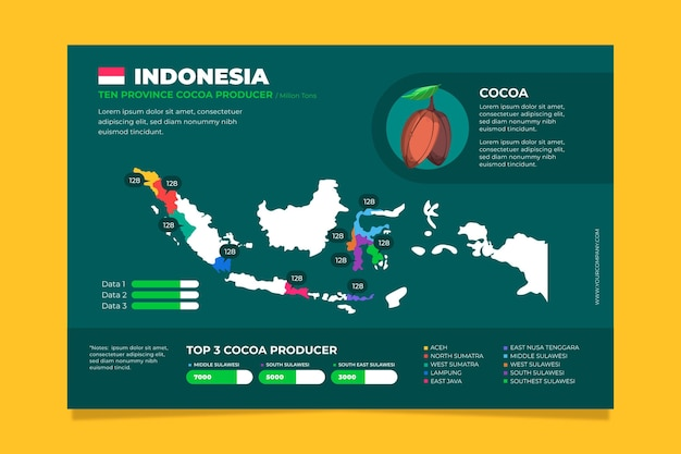 Flat design indonesia map infographics template Free Vector