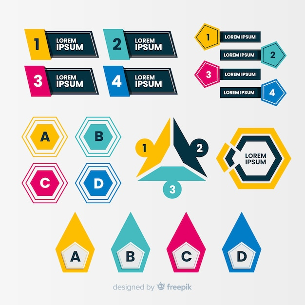 Flat design infographic bullet points Free Vector