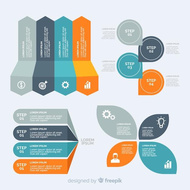Flat design infographic element collection Premium Vector