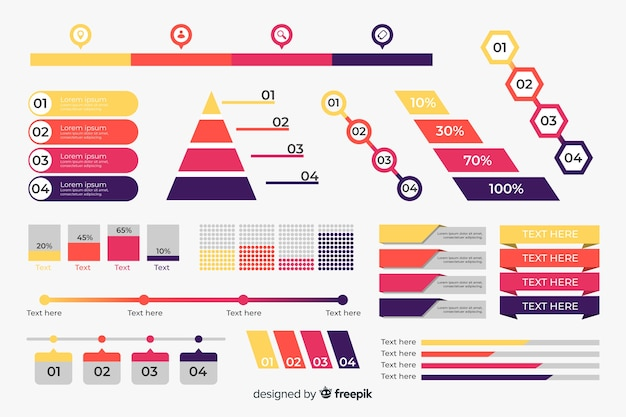 Flat design infographic element collection Free Vector