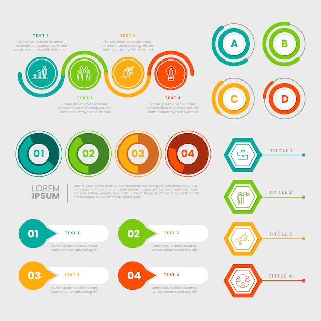 Flat design infographic elements collection Free Vector