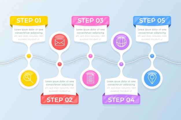 Flat design infographic steps Free Vector