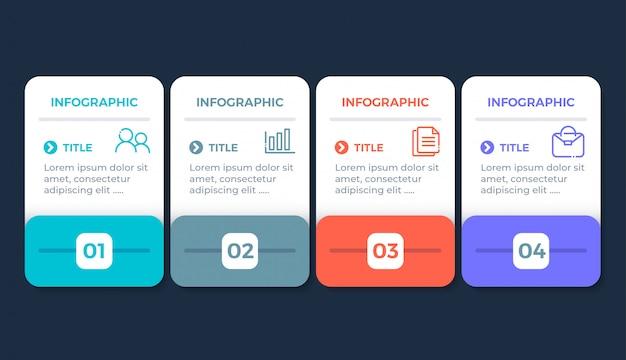 Flat design infographic with 4 options Premium Vector