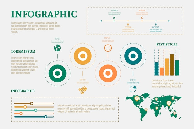 Flat design infographic with retro colors Free Vector