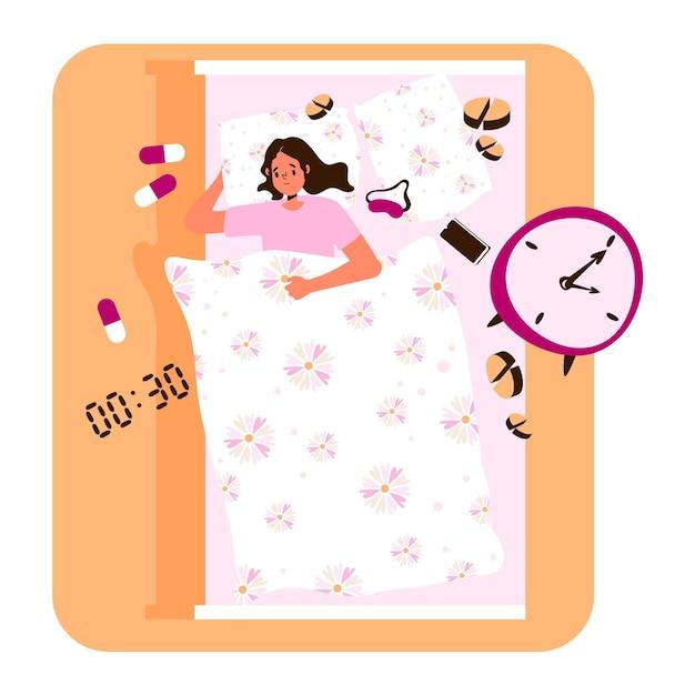 Concetto di insonnia design piatto con la donna a letto Vettore gratuito