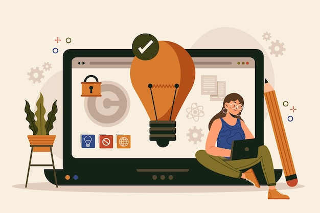 Flat design intellectual property concept with woman and laptop Free Vector