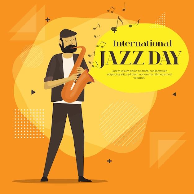 Плоский дизайн international jazz day design Бесплатные векторы