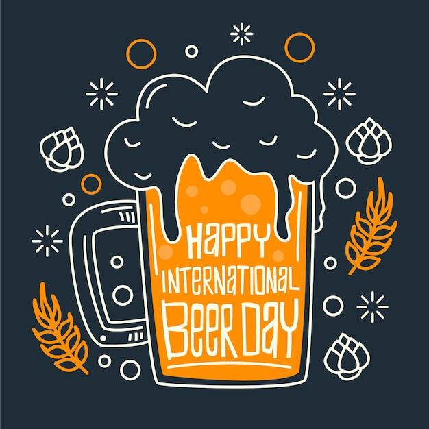 Flat design international beer day concept Free Vector