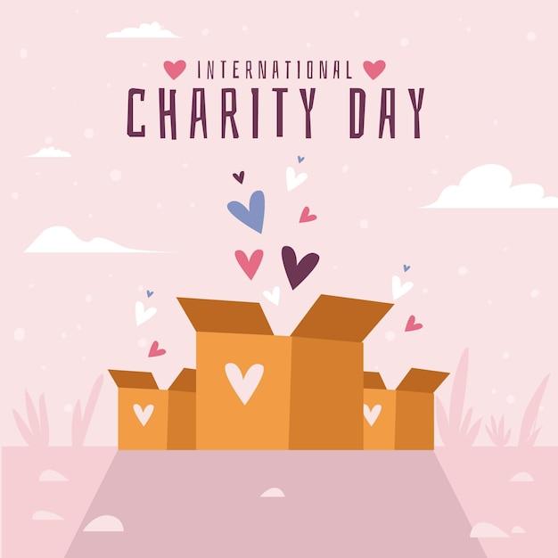 Design piatto giornata internazionale di beneficenza sfondo Vettore gratuito
